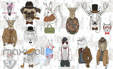 Drawings Of Hipster Animals With Clothes Art Wall Murals Wallpaper Decals Prints Decor IDCWP-JB-000708
