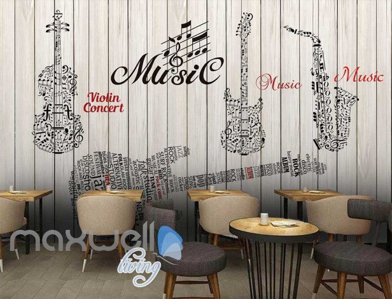 Graphic Design Music Instruments On Wooden Wall Art Wall Murals Wallpaper Decals Prints Decor IDCWP-JB-000714