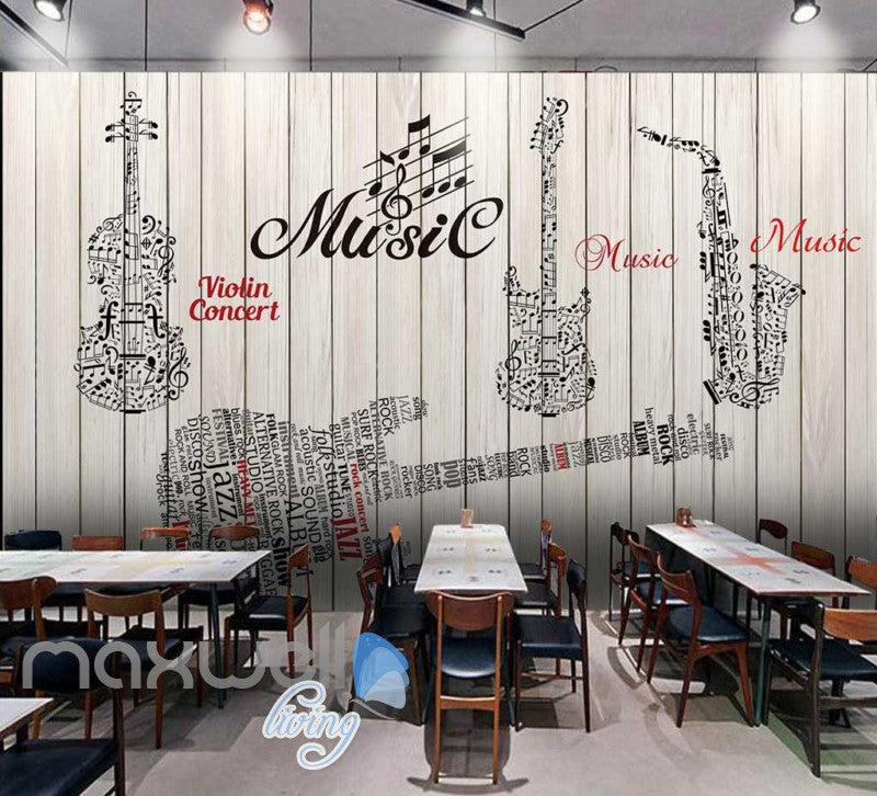 Graphic Design Music Instruments On Wooden Wall Art Wall Murals Wallpaper Decals Prints Decor Idcwp Jb 000714