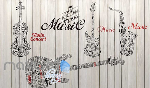Image of Graphic Design Music Instruments On Wooden Wall Art Wall Murals Wallpaper Decals Prints Decor IDCWP-JB-000714