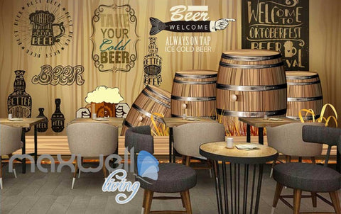 Image of Rustic Graphic Design With Barrels  Art Wall Murals Wallpaper Decals Prints Decor IDCWP-JB-000715