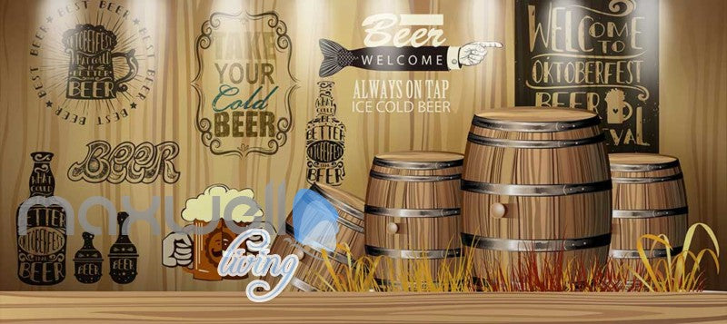Rustic Graphic Design With Barrels  Art Wall Murals Wallpaper Decals Prints Decor IDCWP-JB-000715