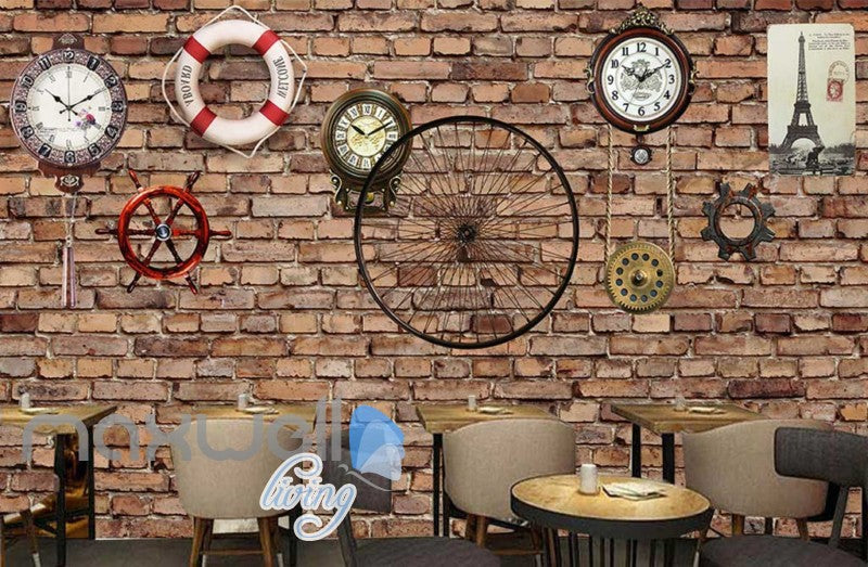 Red Brick Wall With Clocks Eiffel Tower Poster And Lifesaving Float Art Wall Murals Wallpaper Decals Prints Decor IDCWP-JB-000716