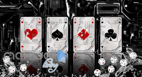 Image of 3D Aces Poker Art Wall Murals Wallpaper Decals Prints Decor IDCWP-JB-000722