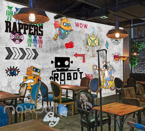 Image of Graphic Design Cartoon Of Robots On Gray Wall Art Wall Murals Wallpaper Decals Prints Decor IDCWP-JB-000734