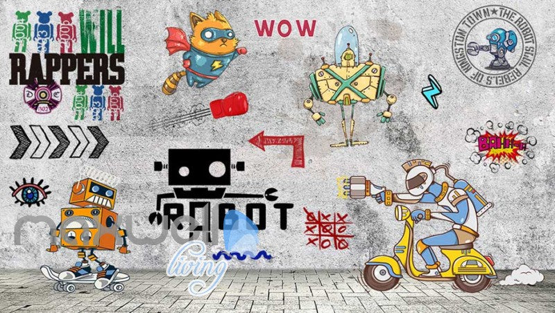 Graphic Design Cartoon Of Robots On Gray Wall Art Wall Murals Wallpaper Decals Prints Decor IDCWP-JB-000734