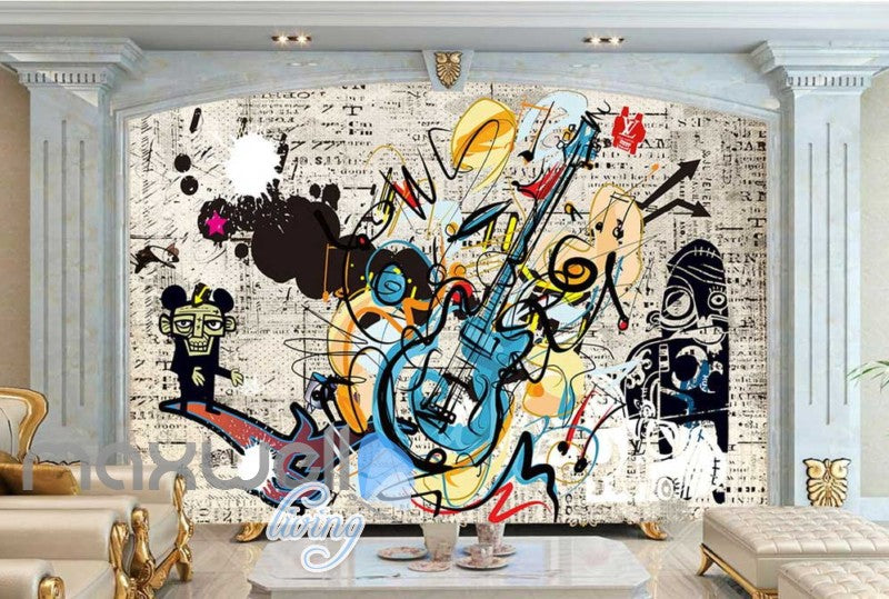 Graphic Design Of Guitar And Monkey Art Wall Murals Wallpaper Decals