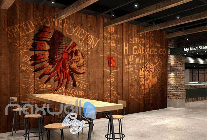Rustic Wooden Wall With Indian Skull  Art Wall Murals Wallpaper Decals Prints Decor IDCWP-JB-000739