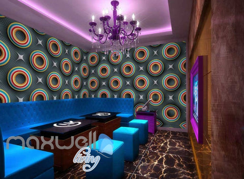 Image of Colourful Pattern Stars And Circles Art Wall Murals Wallpaper Decals Prints Decor IDCWP-JB-000741