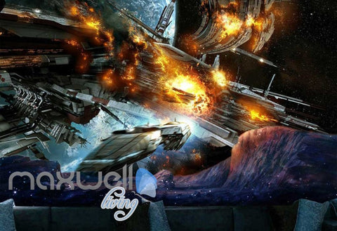 Image of Spaceship On Fire  Art Wall Murals Wallpaper Decals Prints Decor IDCWP-JB-000743