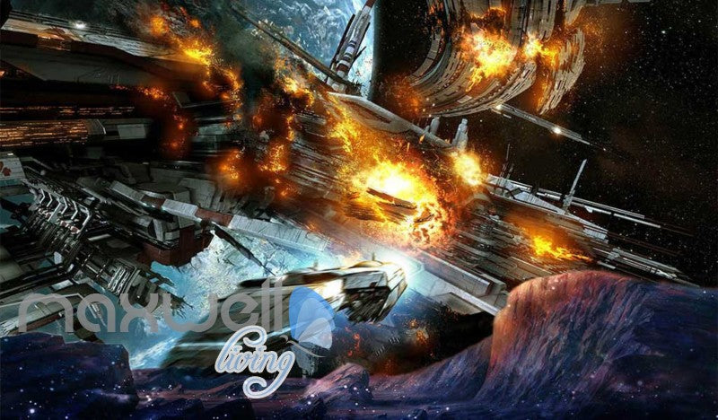 Spaceship On Fire  Art Wall Murals Wallpaper Decals Prints Decor IDCWP-JB-000743