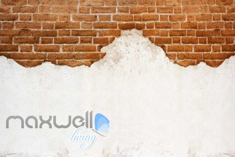 Image of Half Brick Wall And White Wall Art Wall Murals Wallpaper Decals Prints Decor IDCWP-JB-000745