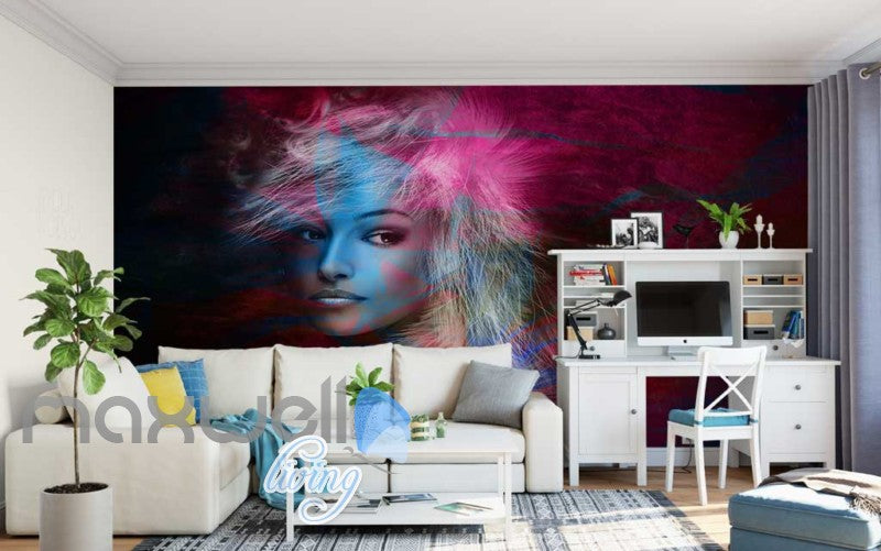 Graphic Design Of Portrait Of Woman Art Wall Murals Wallpaper Decals Prints Decor IDCWP-JB-000749
