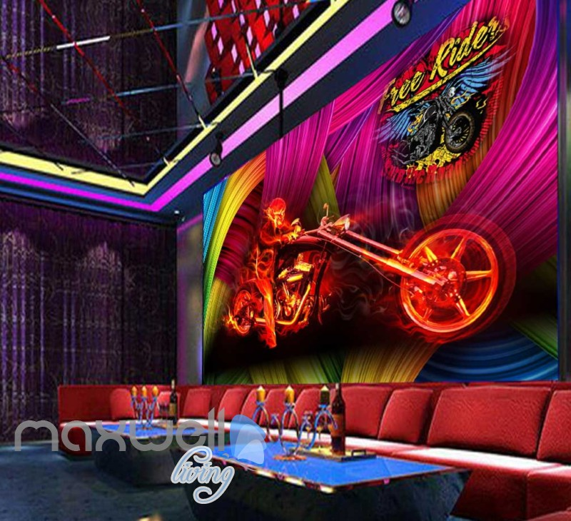 Graphic Design Motorbike And Person On Fire With Colorfoul Background Art Wall Murals Wallpaper Decals Prints Decor IDCWP-JB-000750