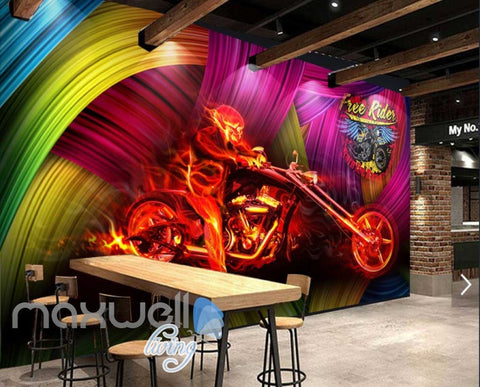 Image of Graphic Design Motorbike And Person On Fire With Colorfoul Background Art Wall Murals Wallpaper Decals Prints Decor IDCWP-JB-000750