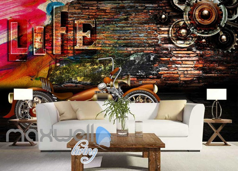 3D Graphic Design With Metal Motorbike And Brick Wall Art Wall Murals Wallpaper Decals Prints Decor IDCWP-JB-000755