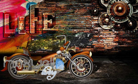 Image of 3D Graphic Design With Metal Motorbike And Brick Wall Art Wall Murals Wallpaper Decals Prints Decor IDCWP-JB-000755
