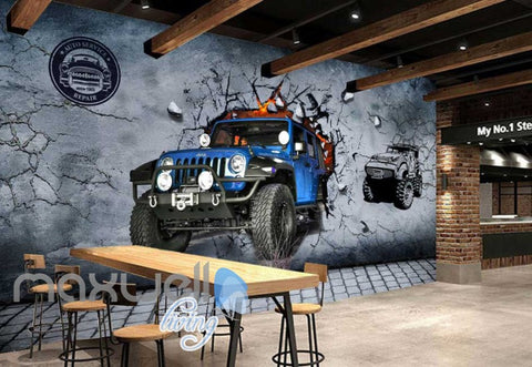 Image of Blue Jeep Breaking Through Cement Wall Art Wall Murals Wallpaper Decals Prints Decor IDCWP-JB-000760