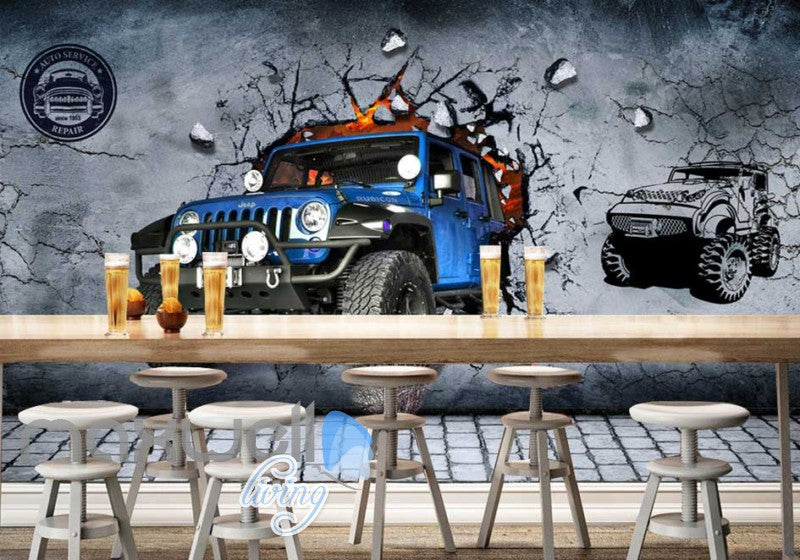 Blue Jeep Breaking Through Cement Wall Art Wall Murals Wallpaper Decals Prints Decor IDCWP-JB-000760