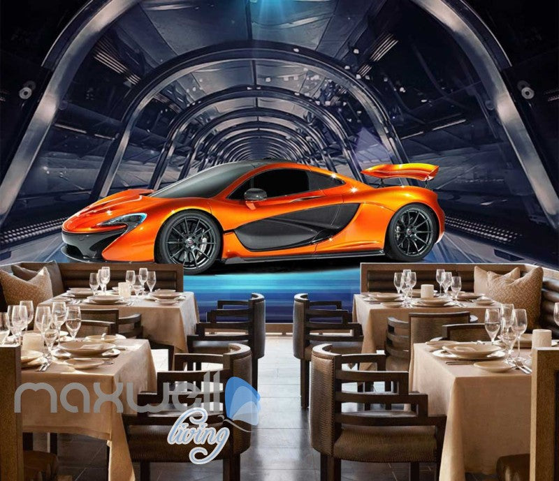 Orange Racing Car On Glass Tunnel Art Wall Murals Wallpaper Decals Prints Decor IDCWP-JB-000764