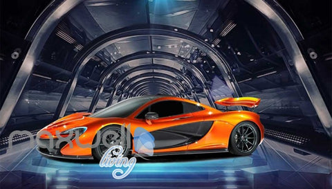 Image of Orange Racing Car On Glass Tunnel Art Wall Murals Wallpaper Decals Prints Decor IDCWP-JB-000764