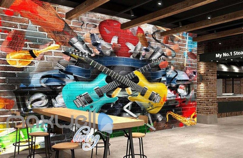 Graphic Design Guitars Brick Wall Art Wall Murals Wallpaper Decals Prints Decor IDCWP-JB-000767