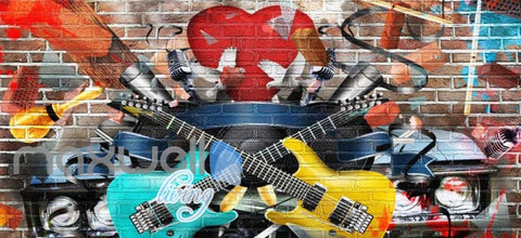 Image of Graphic Design Guitars Brick Wall Art Wall Murals Wallpaper Decals Prints Decor IDCWP-JB-000767
