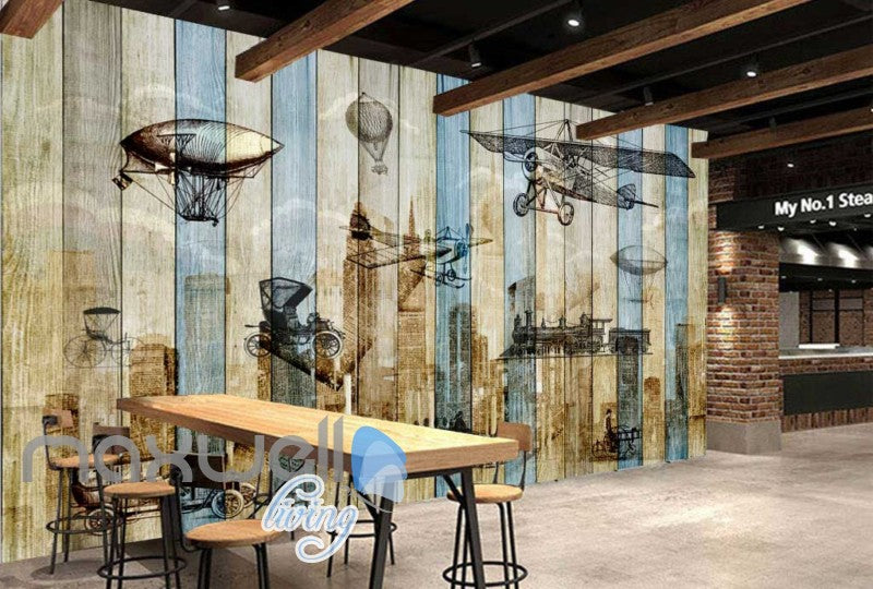Wooden Wall Black And White Drawings Of Airplanes Art Wall Murals Wallpaper Decals Prints Decor IDCWP-JB-000770