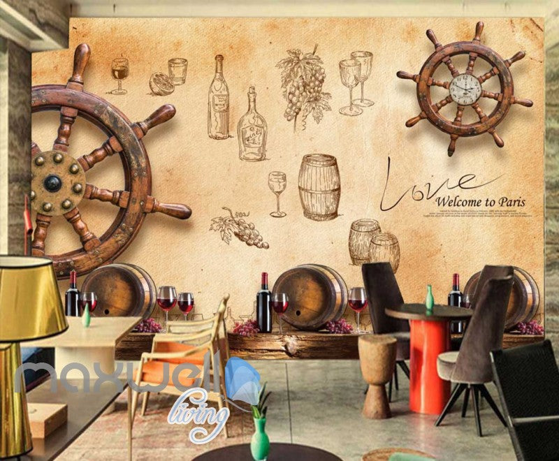 Wooden Boat Wheel On Wall Wine Art Wall Murals Wallpaper Decals Prints Decor IDCWP-JB-000771