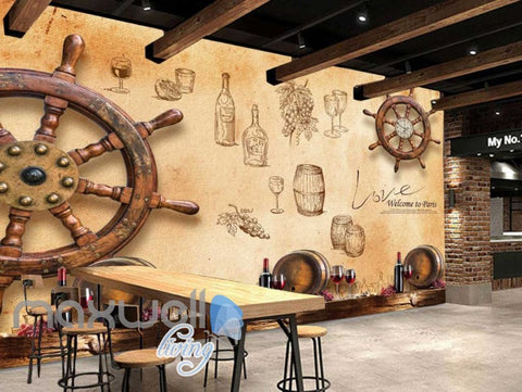 Image of Wooden Boat Wheel On Wall Wine Art Wall Murals Wallpaper Decals Prints Decor IDCWP-JB-000771