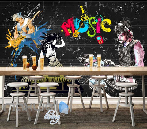Image of Graphic Design Cartoon People Dancing Dj  Art Wall Murals Wallpaper Decals Prints Decor IDCWP-JB-000777