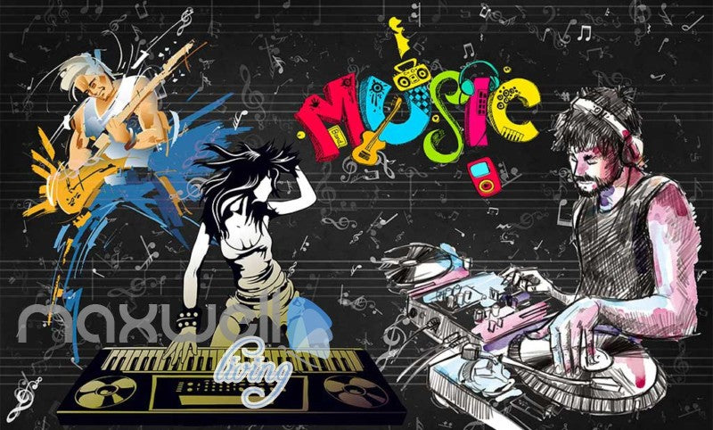 Graphic Design Cartoon People Dancing Dj  Art Wall Murals Wallpaper Decals Prints Decor IDCWP-JB-000777