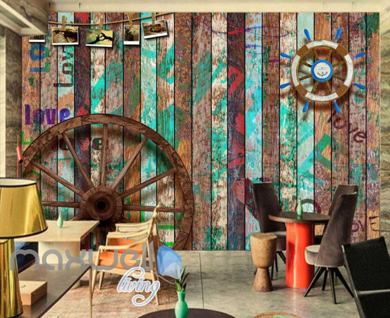 Graphic Desgin Wooden Wall Wooden Wheel Boat Wheel Art Wall Murals Wallpaper Decals Prints Decor IDCWP-JB-000778