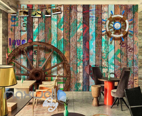 Image of Graphic Desgin Wooden Wall Wooden Wheel Boat Wheel Art Wall Murals Wallpaper Decals Prints Decor IDCWP-JB-000778