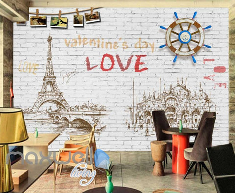 Image of Graphic Design White Wall Eiffel Tower Drawing Wooden Boat Wheel Art Wall Murals Wallpaper Decals Prints Decor IDCWP-JB-000779