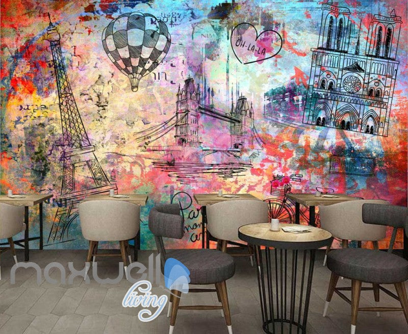 Colorfoul Graphic Design Wall Eiffel Tower Tower Bridge And Notre Dame Cathedral Art Wall Murals Wallpaper Decals Prints Decor IDCWP-JB-000780
