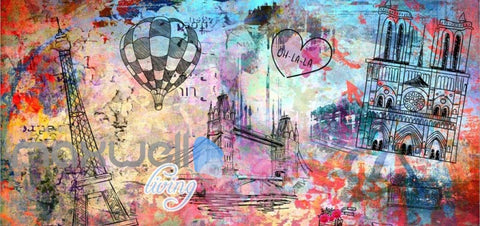 Image of Colorfoul Graphic Design Wall Eiffel Tower Tower Bridge And Notre Dame Cathedral Art Wall Murals Wallpaper Decals Prints Decor IDCWP-JB-000780