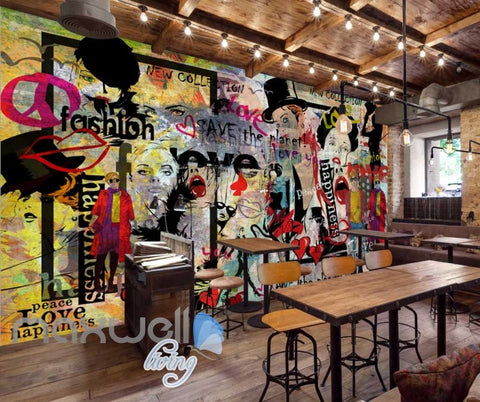 Image of Colorfoul Graphic Design Wall Faces Fashion  Art Wall Murals Wallpaper Decals Prints Decor IDCWP-JB-000781