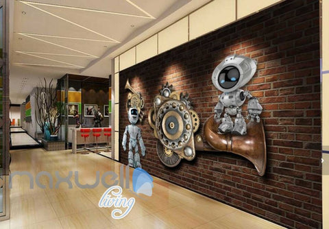 Image of Brick Wall With Gears And Robots Art Wall Murals Wallpaper Decals Prints Decor IDCWP-JB-000784