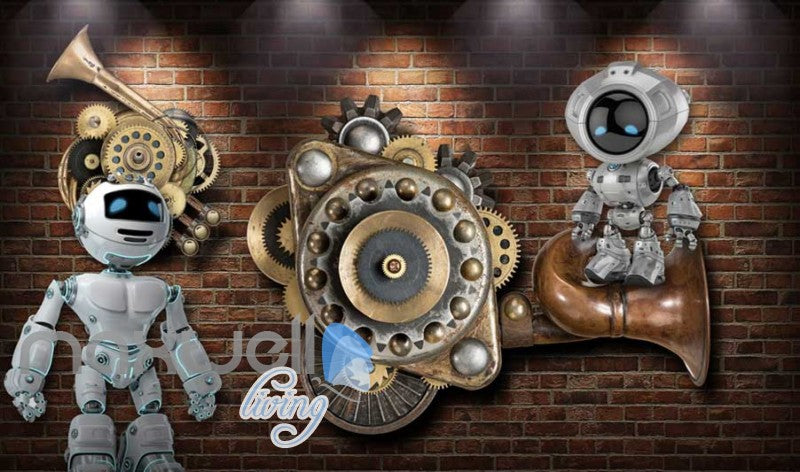Brick Wall With Gears And Robots Art Wall Murals Wallpaper Decals Prints Decor IDCWP-JB-000784