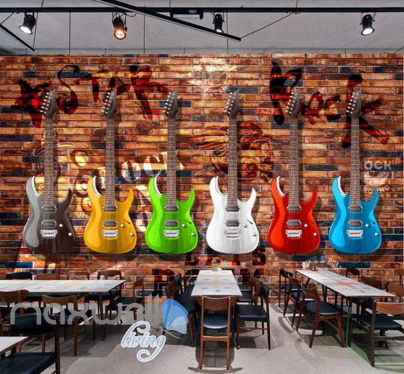 Colourful Graphic Design Electronic Guitars Brick Wall Art Wall ...