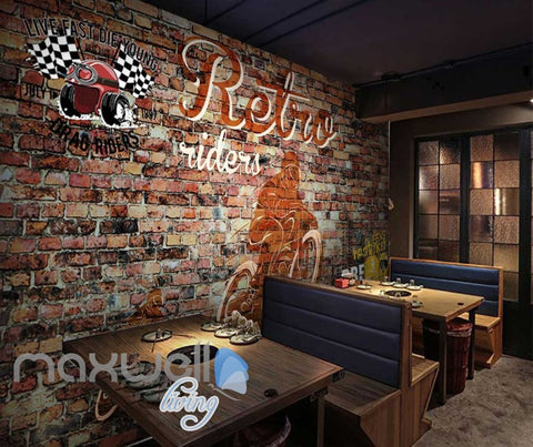 Image of Brick Wall With Retro Motorbike Art Wall Murals Wallpaper Decals Prints Decor IDCWP-JB-000789