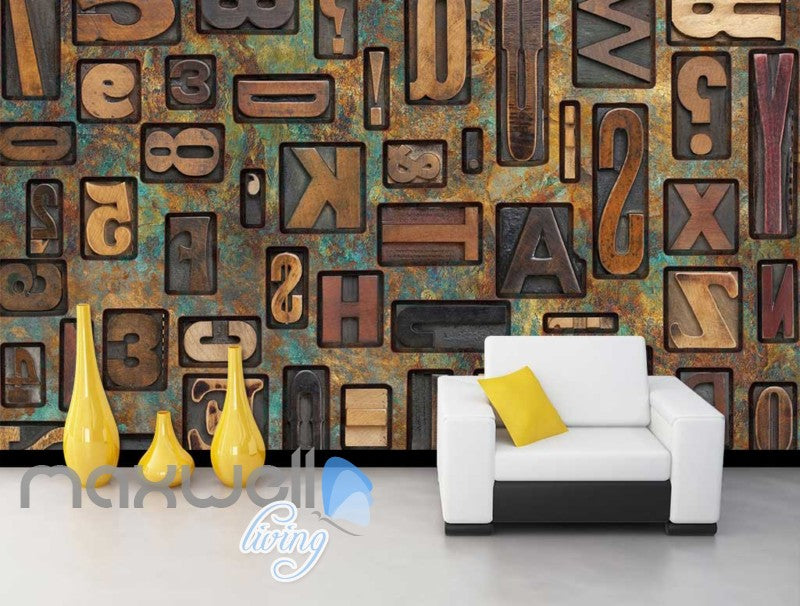 Typography Metal Letters  Art Wall Murals Wallpaper Decals Prints Decor IDCWP-JB-000793