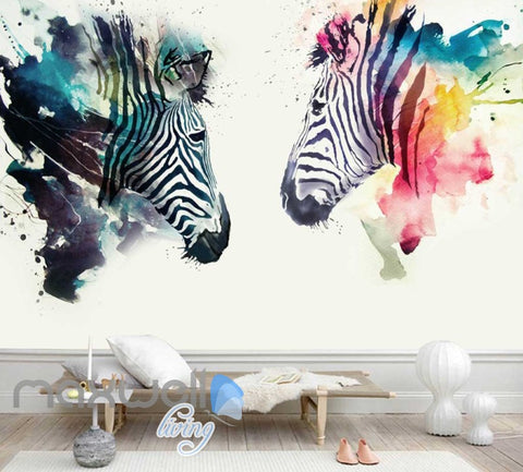Image of Graphic Design Colourful Zebras Art Wall Murals Wallpaper Decals Prints Decor IDCWP-JB-000797