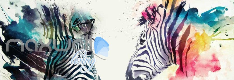 Graphic Design Colourful Zebras Art Wall Murals Wallpaper Decals Prints Decor IDCWP-JB-000797