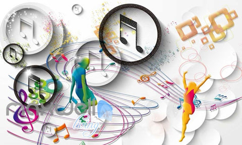 Image of Graphic Design Colourful Music Notes Art Wall Murals Wallpaper Decals Prints Decor IDCWP-JB-000799
