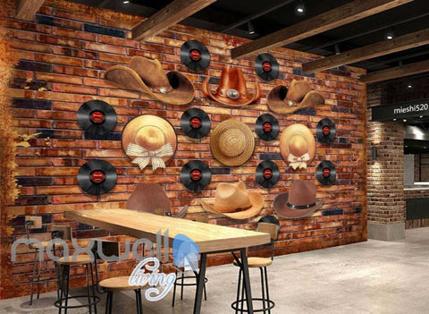 Image of Brick Wall With Vinyl And Cowboy Hats  Art Wall Murals Wallpaper Decals Prints Decor IDCWP-JB-000805