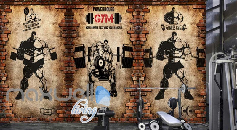 Broken Brick Wall With Drawings Of Cartoon Lifting Weights Art Wall Murals Wallpaper Decals Prints Decor IDCWP-JB-000807