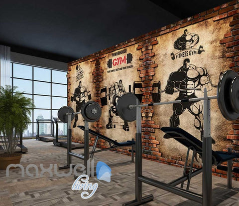 Image of Broken Brick Wall With Drawings Of Cartoon Lifting Weights Art Wall Murals Wallpaper Decals Prints Decor IDCWP-JB-000807