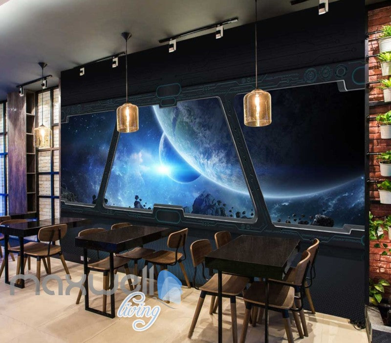 View Planets And Space From A Spaceship Window Art Wall Murals Wallpaper Decals Prints Decor IDCWP-JB-000811